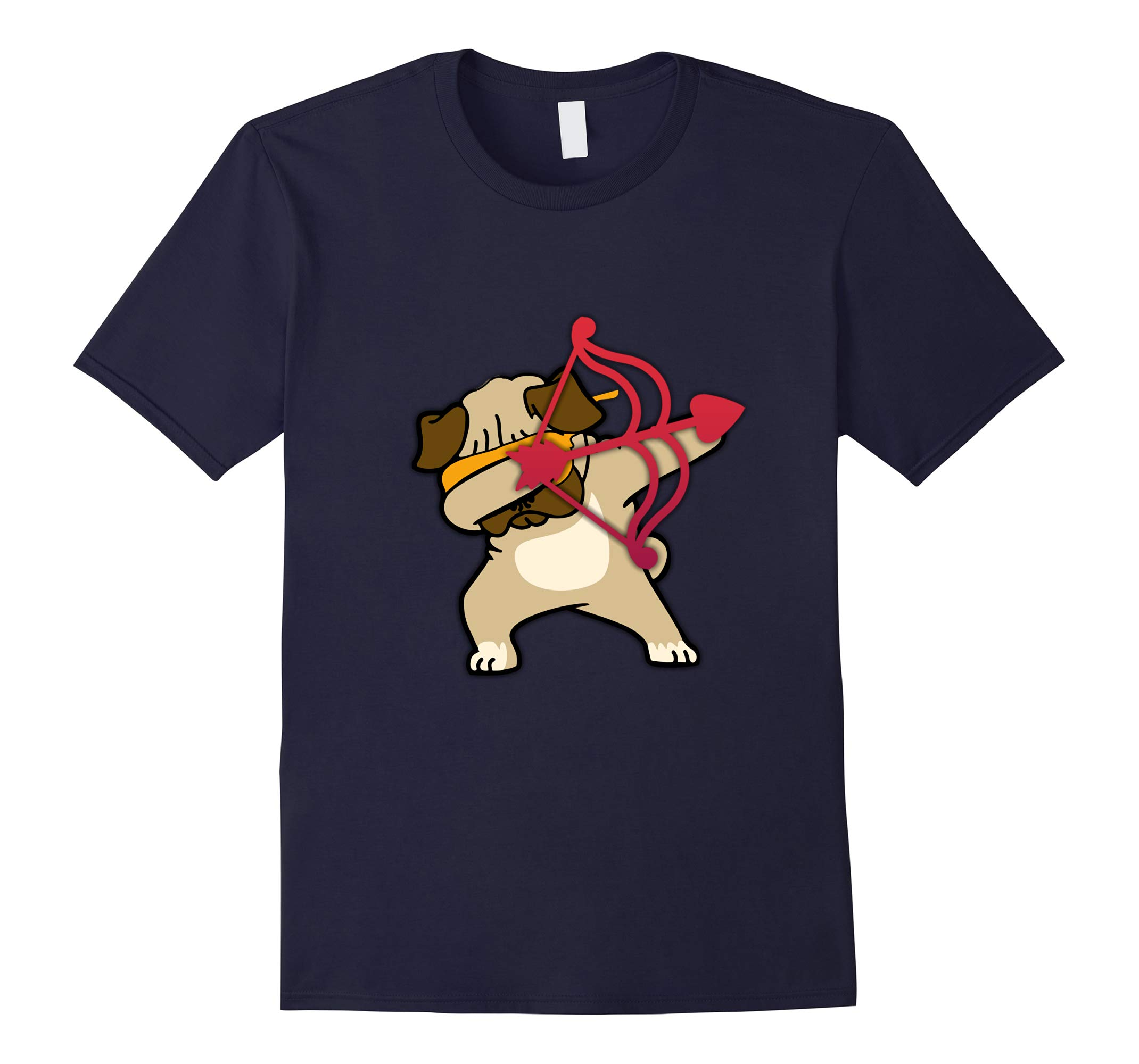 Valentines Day Dabbing Pug Dog Tshirt Puppy Dogs Red Bow Tee-RT