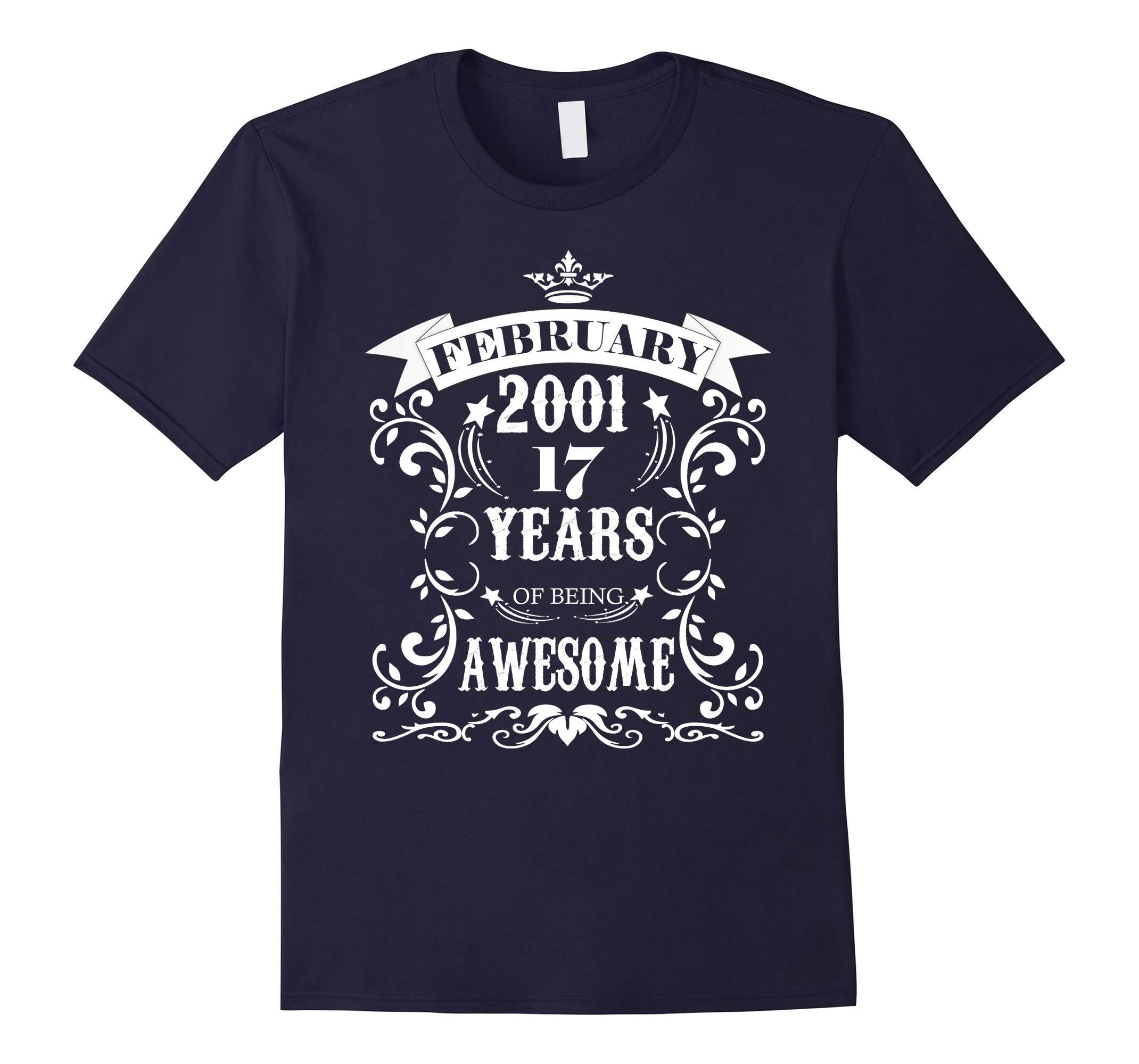 17th Birthday Gift - Awesome Born in February 2001 T-Shirt-RT