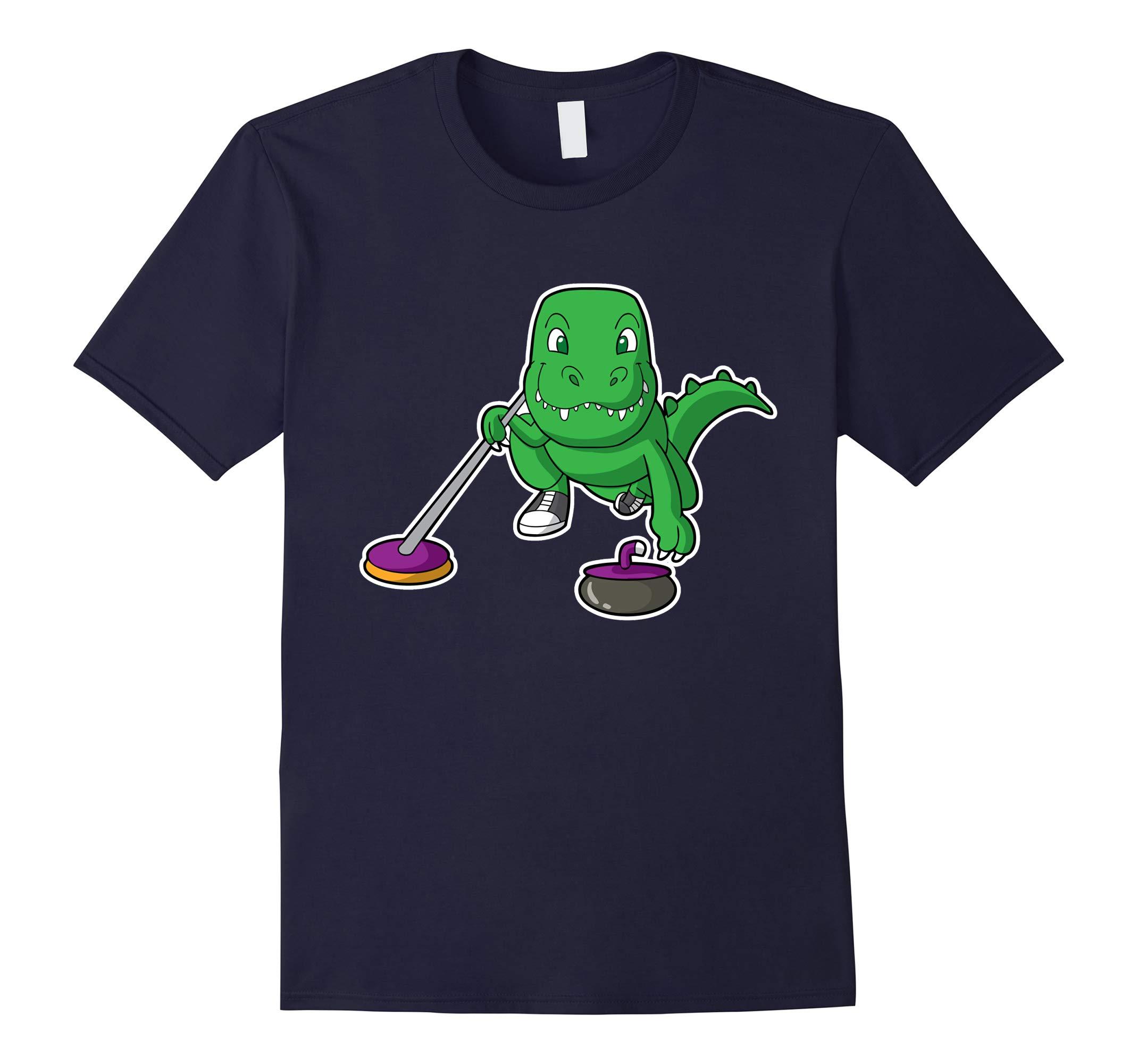 Curling T Rex Dinosaur Shirt-RT