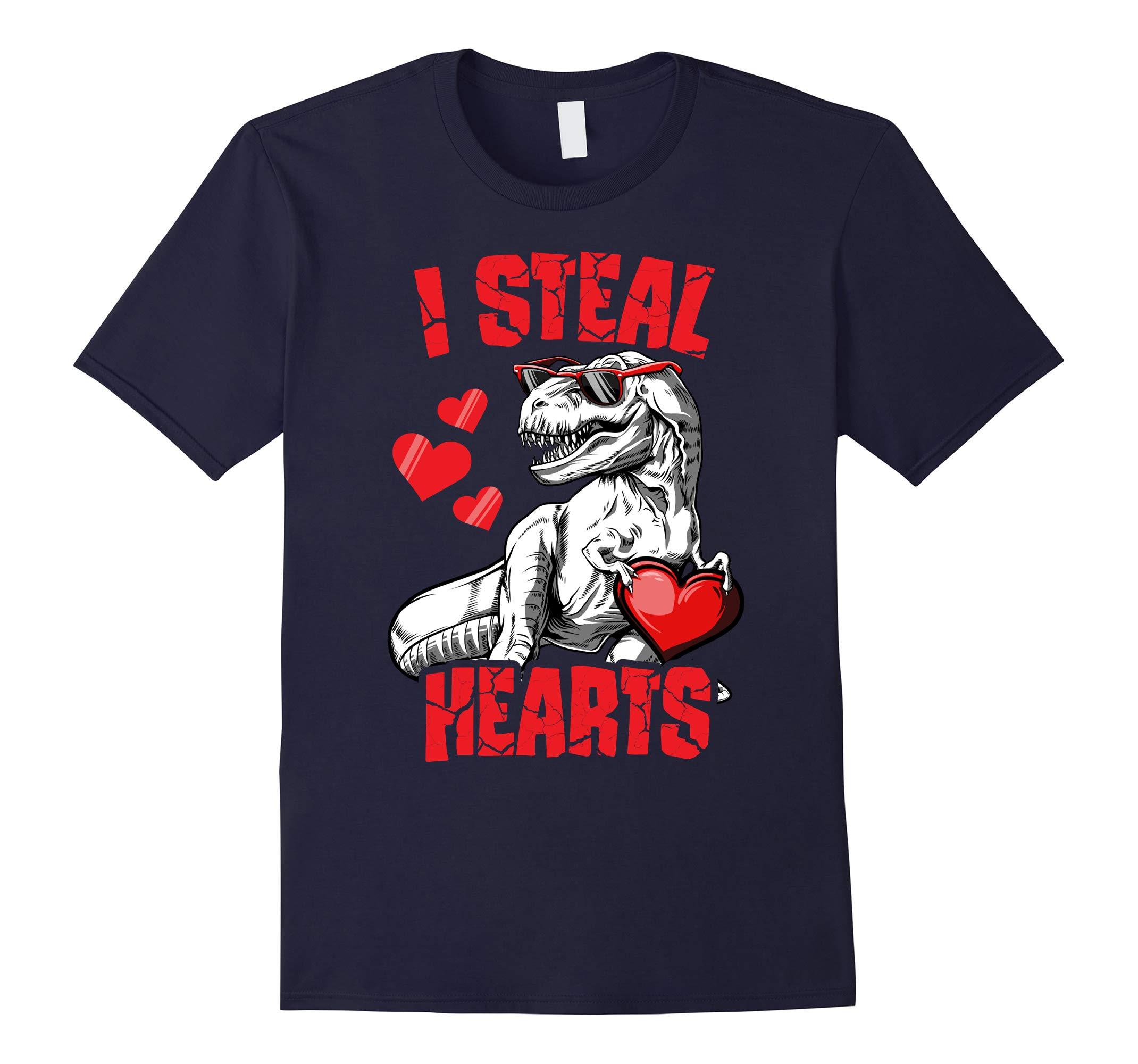 Valentines Day Dinosaur shirt I Steal Hearts T rex Boys Kids-RT