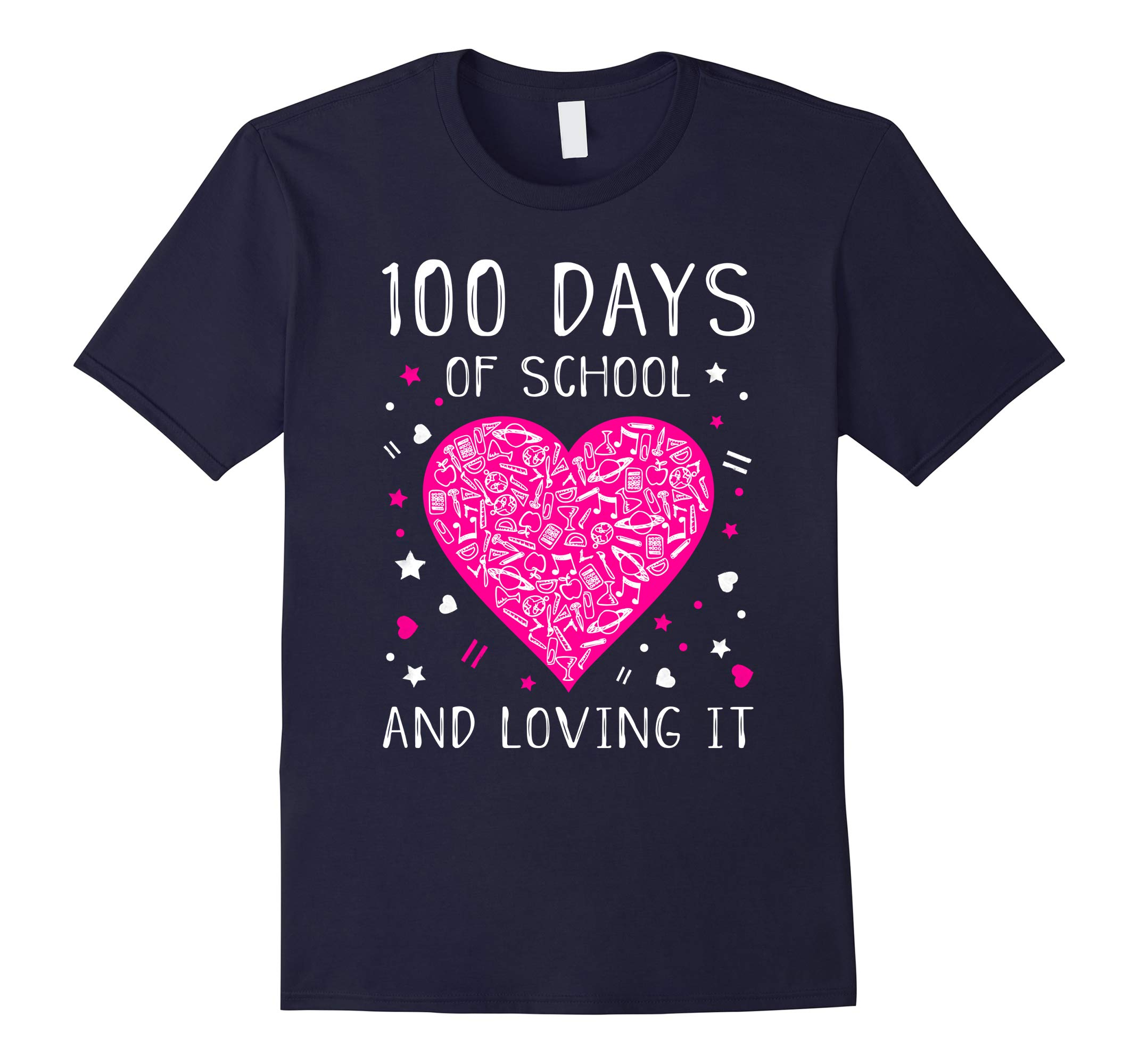 100 Days of School and Loving It Cute Heart T-shirt-RT
