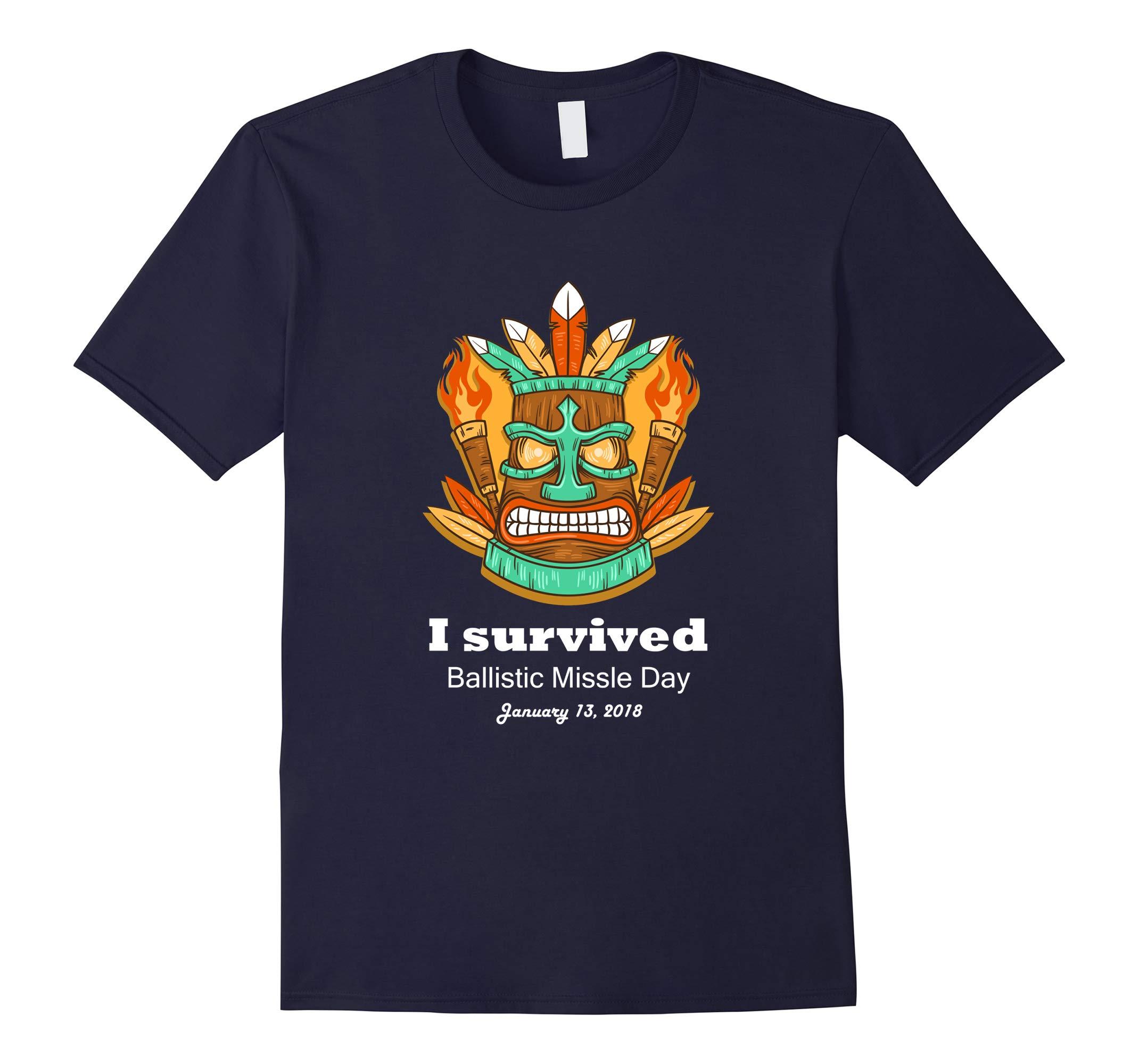 Tiki Hawaiian I survived ballistic Missile Day Tee Shirt-RT