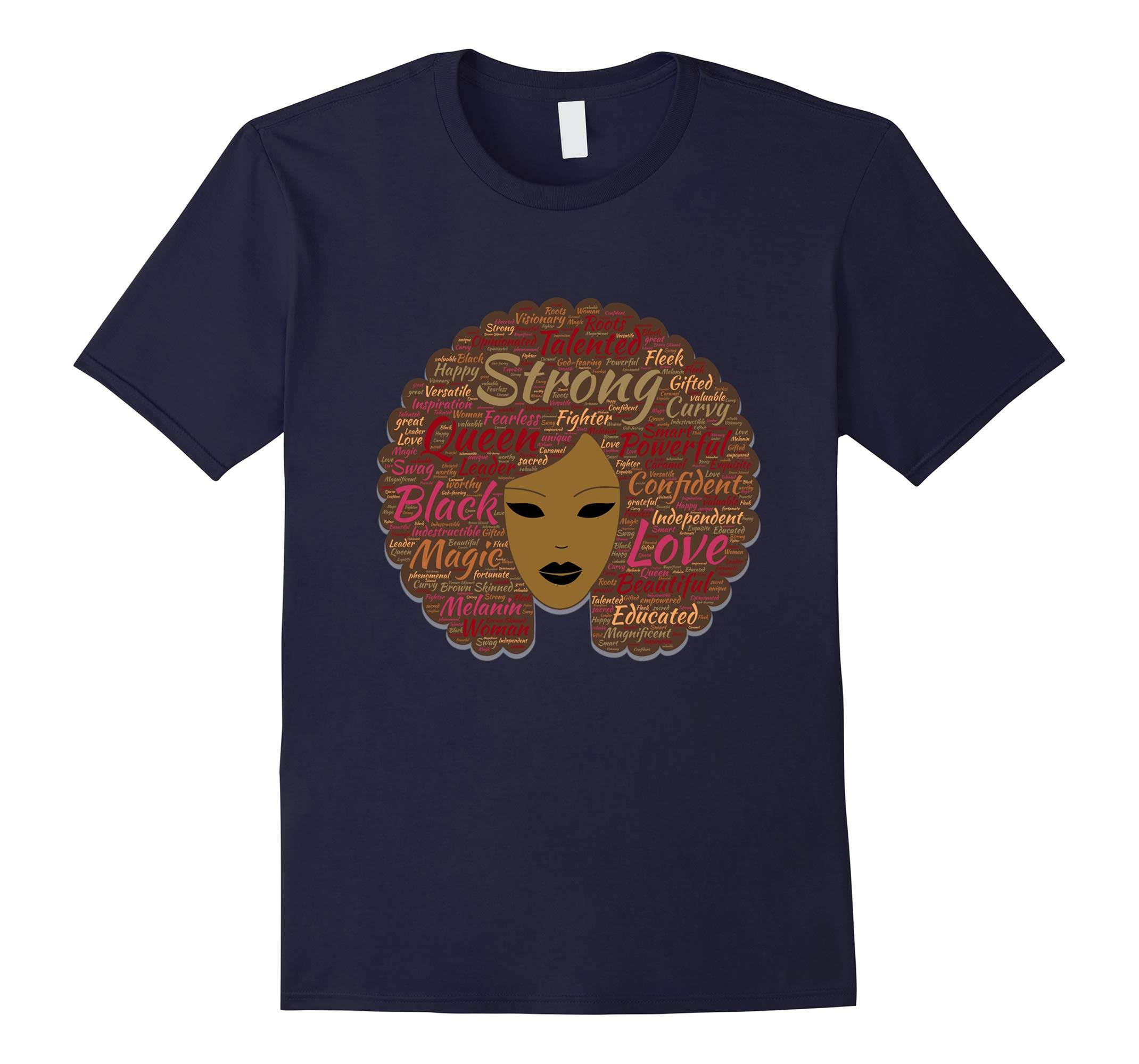 Afro Word Art Black History Month Natural Hair T-Shirt-RT