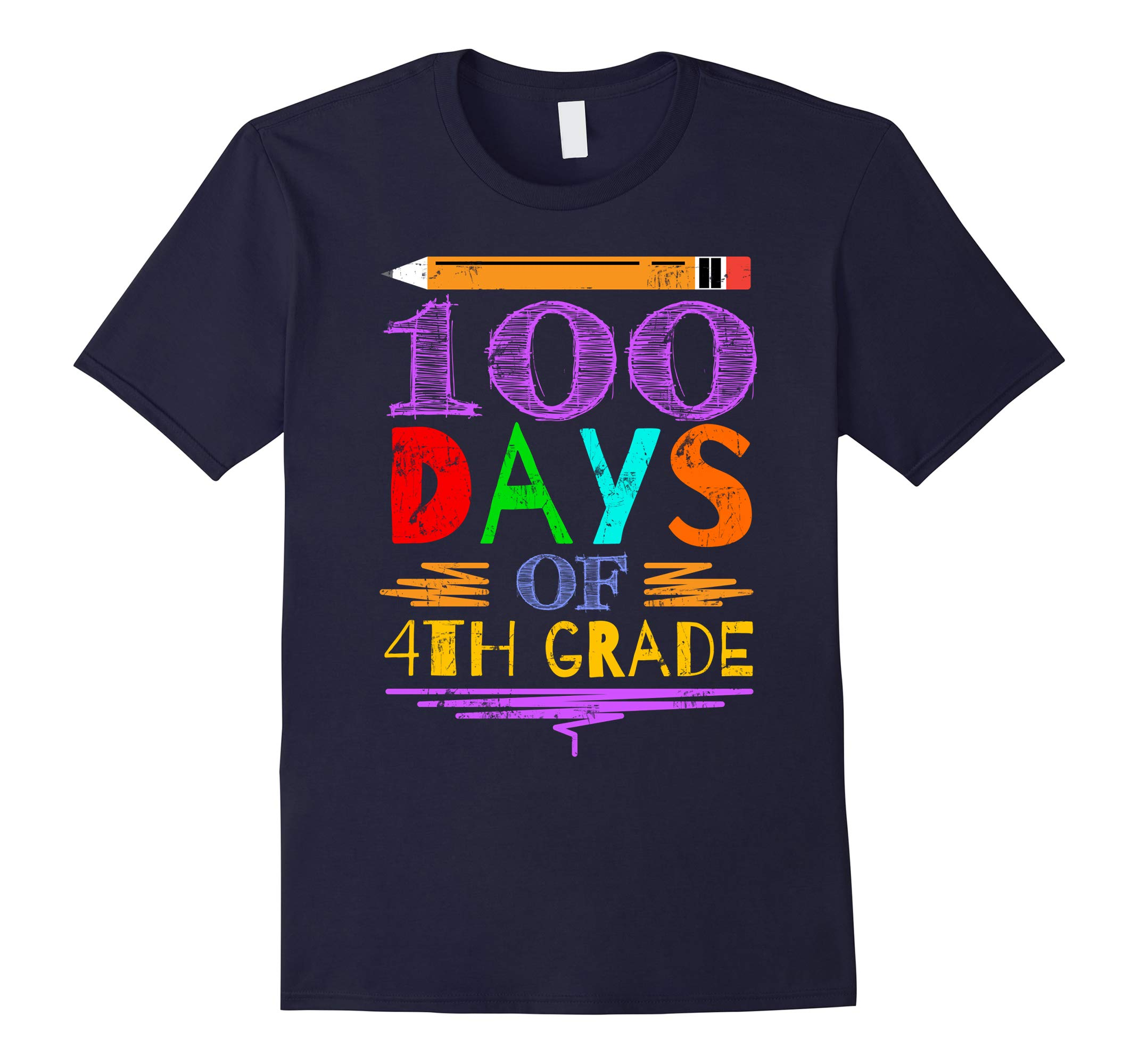 100 Days Of School Shirt 4th Grade Tee-RT