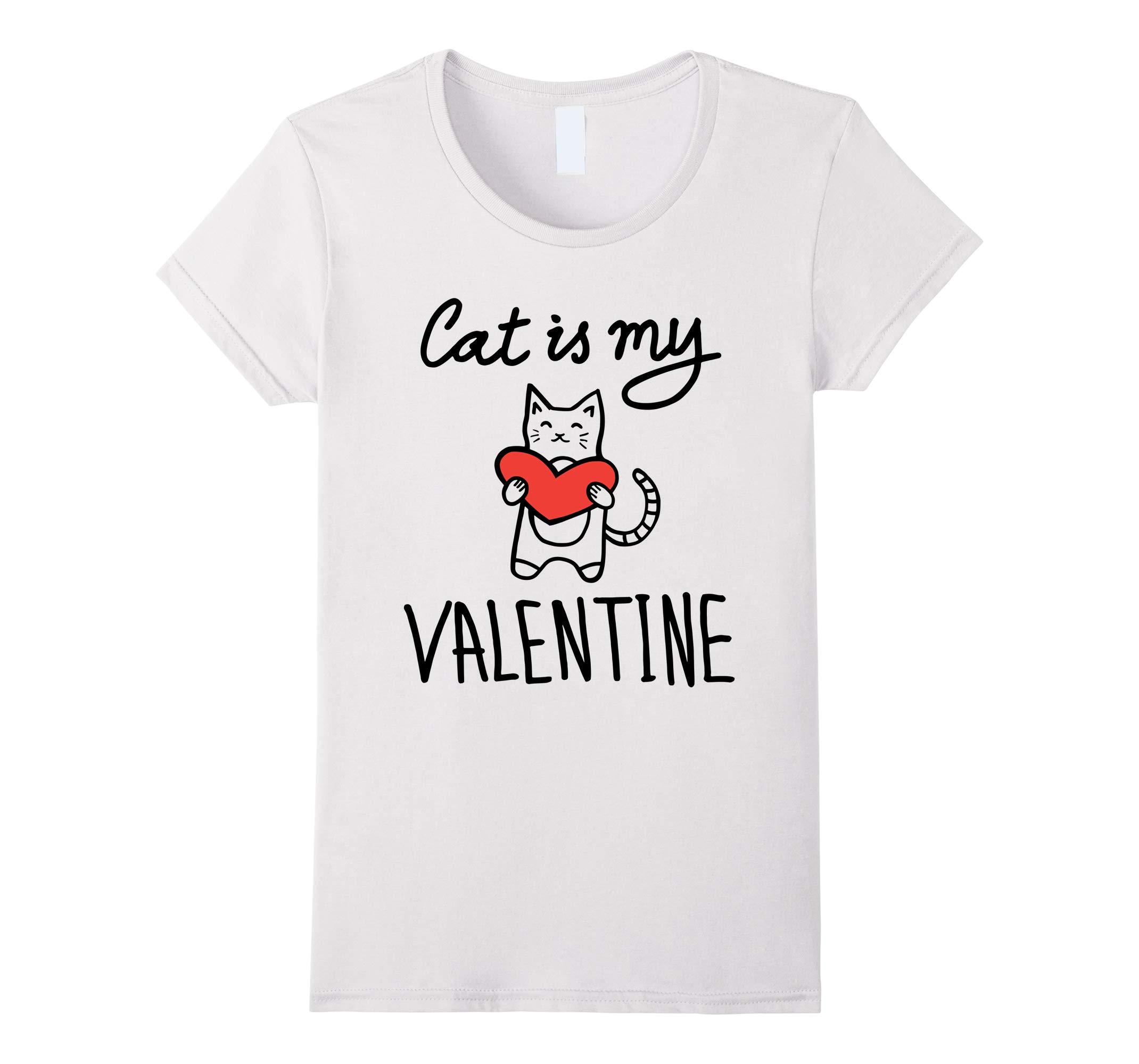 Valentines Day T Shirt - Cat is My Valentine Heart Tshirt-RT
