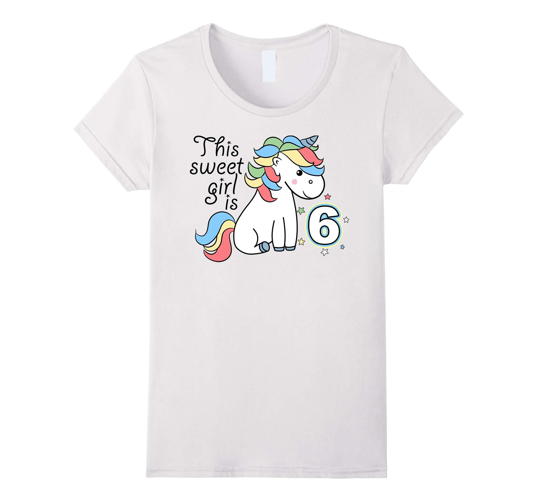 Unicorn Birthday Shirt 6th Birthday Gift Novelty Shirt-RT