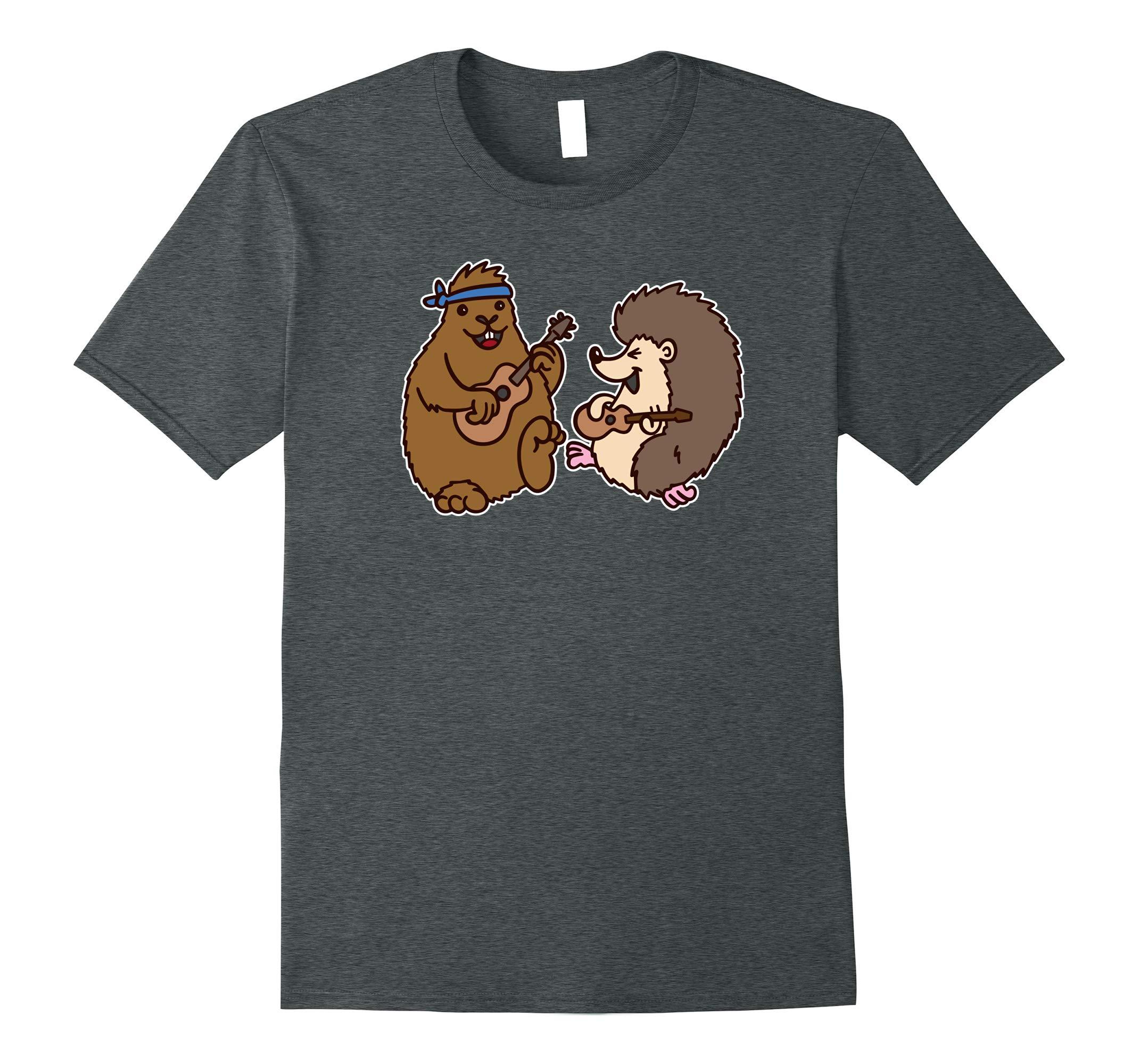 Groundhog & Hedgehog Playing Ukuleles shirt cute cartoons-RT