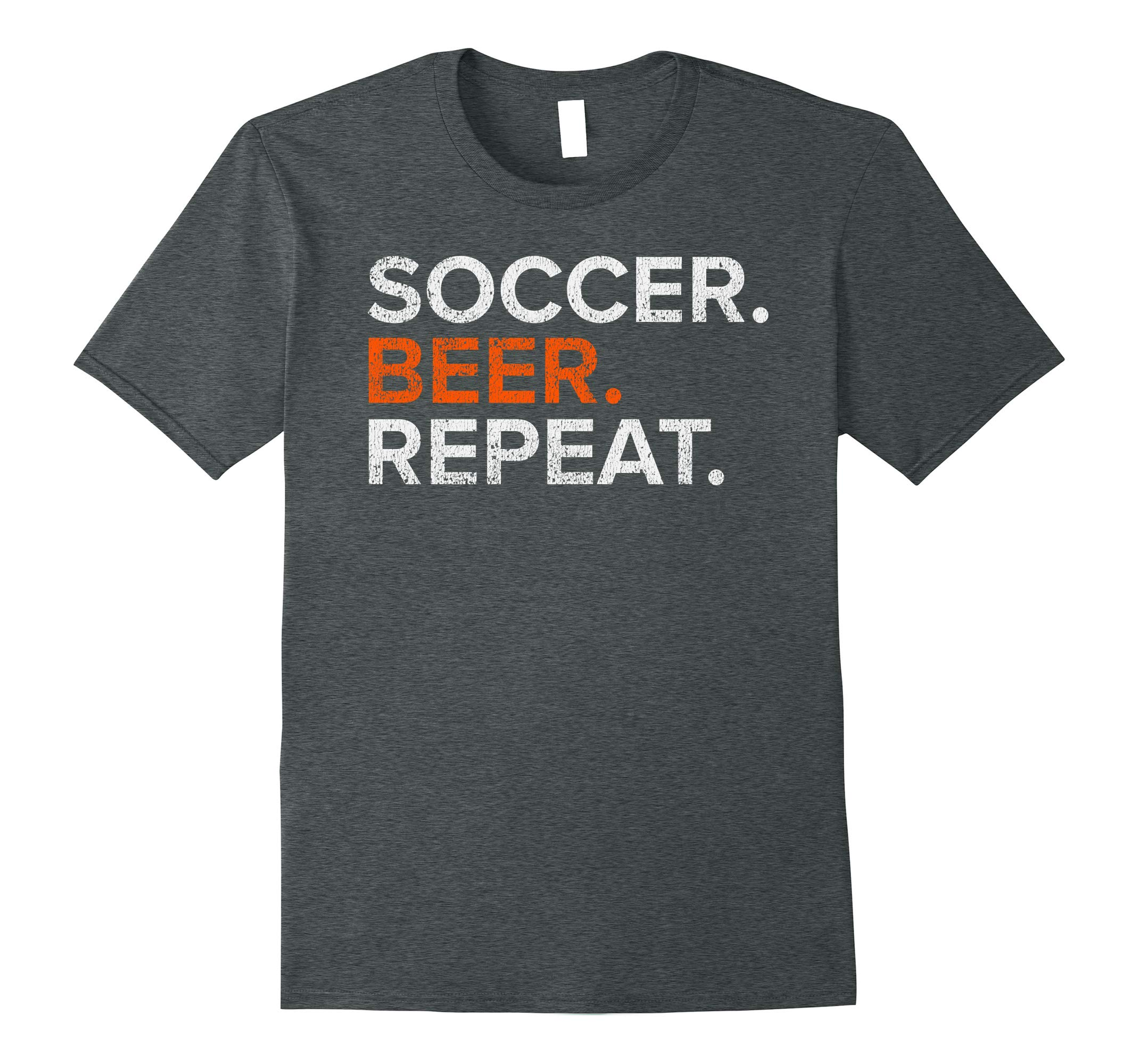 Vintage Soccer Beer Repeat Funny Distressed T Shirt-RT