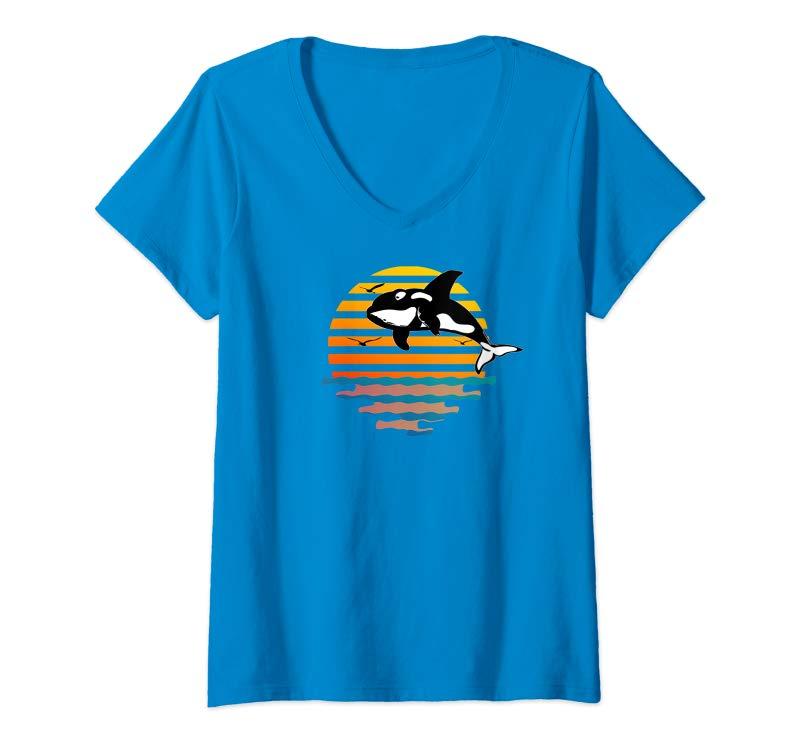 Womens Retro Orca, Killer Whale Sunset Graphic Design V-Neck T-Shirt-ANZ
