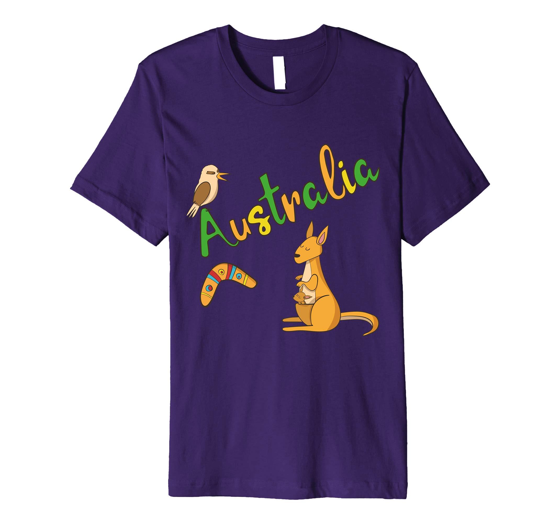 Australia Kangaroo Boomerang Kookaburra T-Shirt-AZP