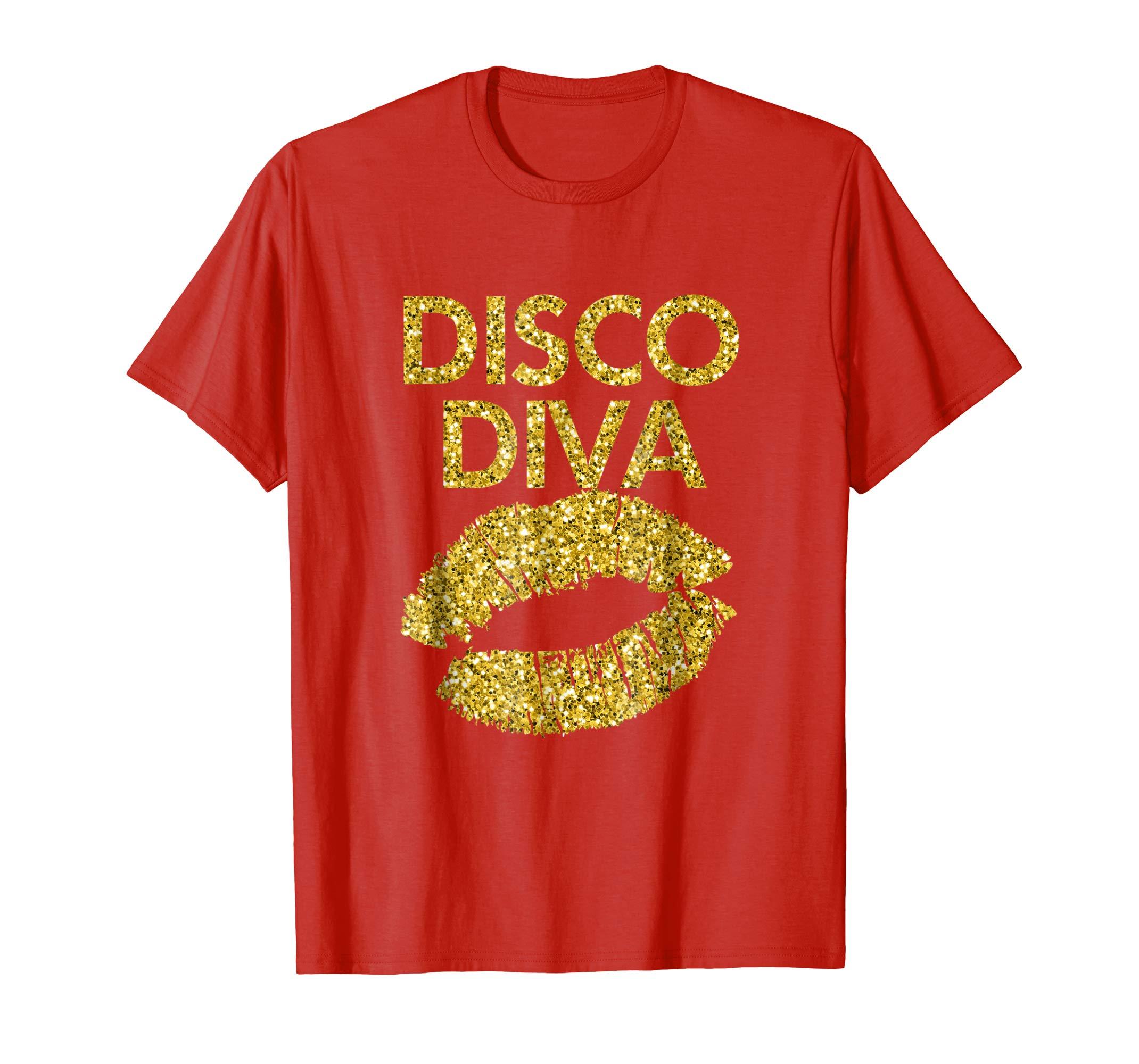 Disco Diva: Women Ladies Disco Gold Lips T-Shirt-anz