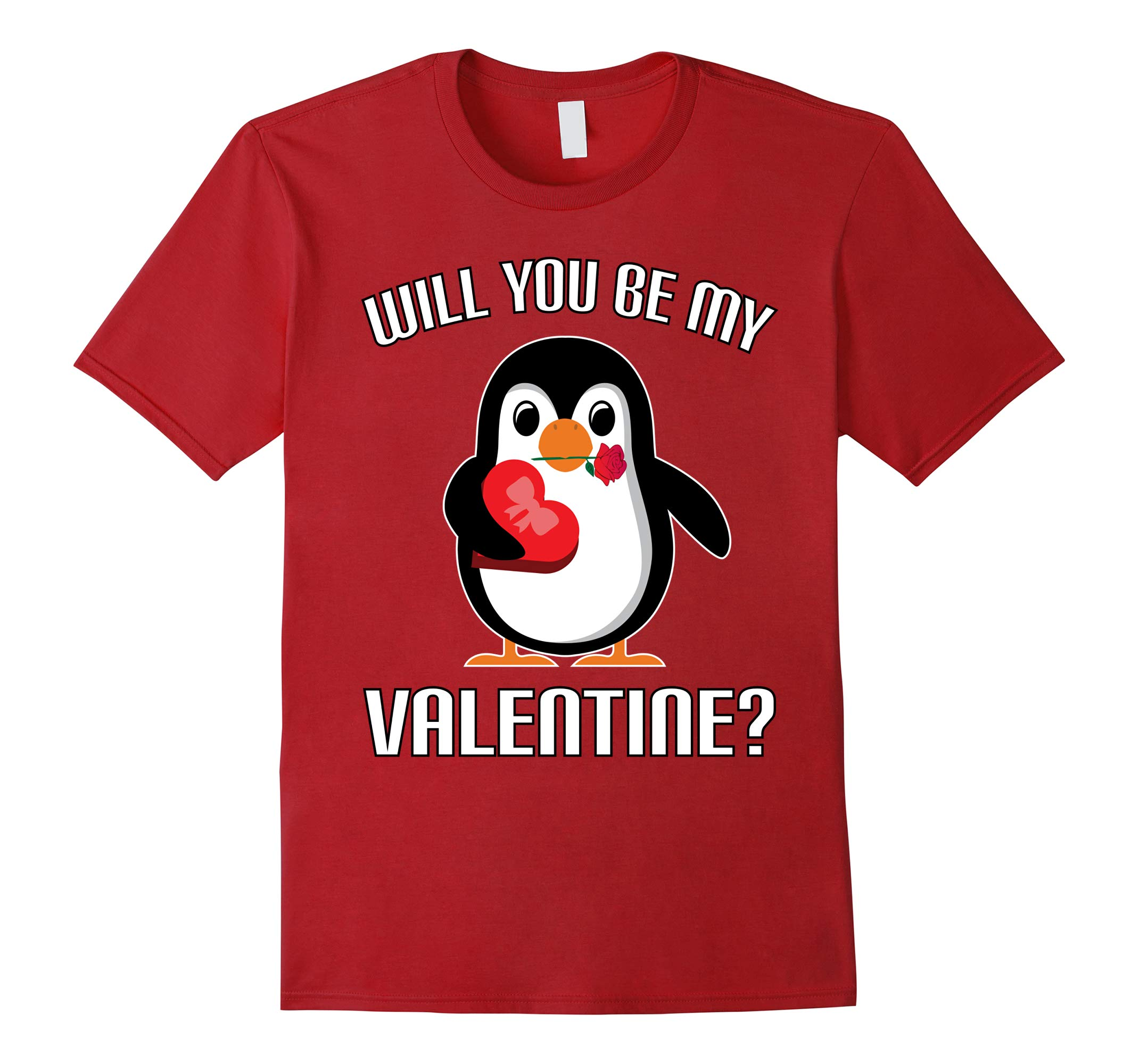 WILL YOU BE MY VALENTINE FUNNY CUTE PENGUIN Shirt-RT