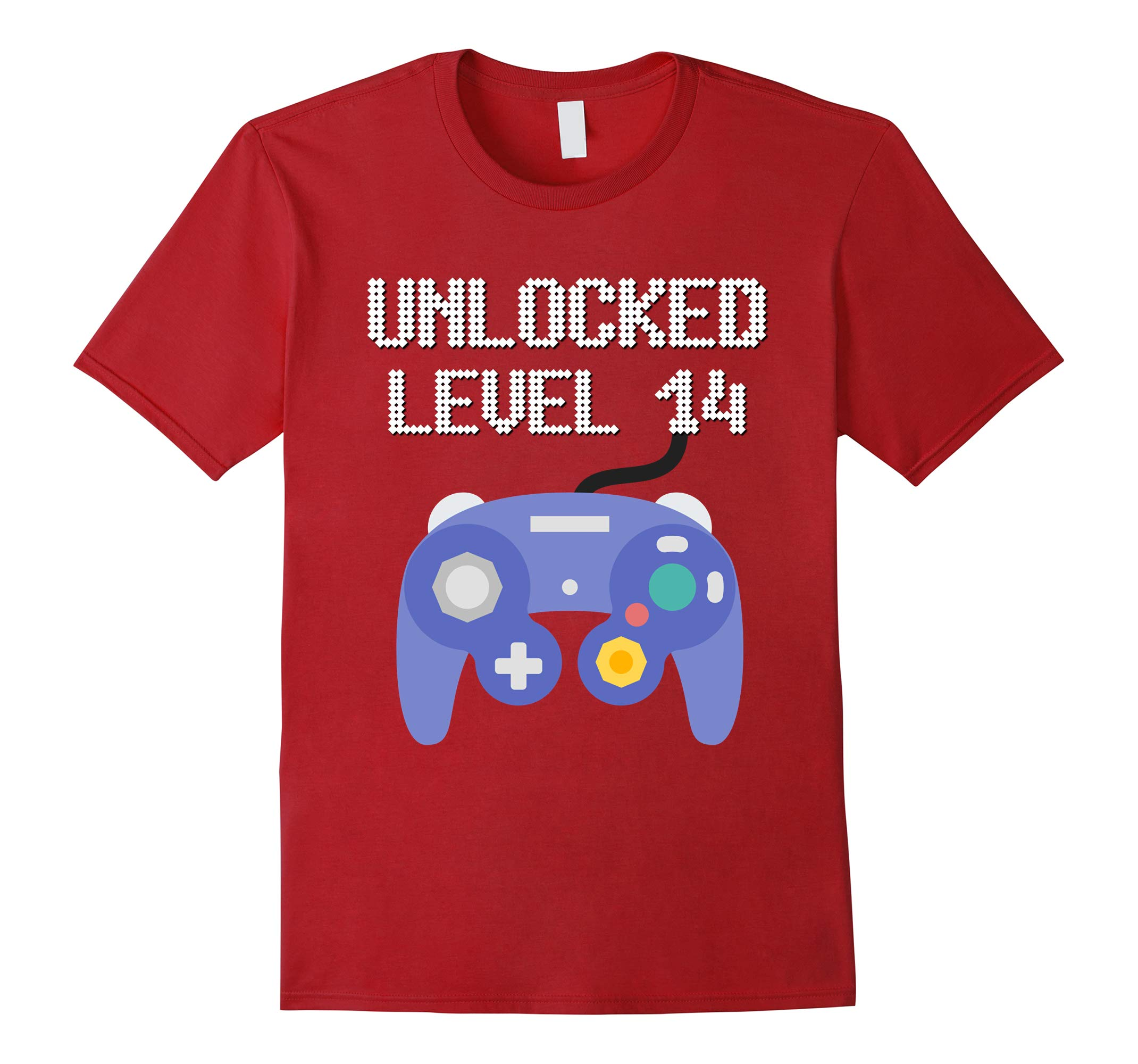 14th Birthday Gamer Tee Unlocked Level 14 years old T-shirt-RT