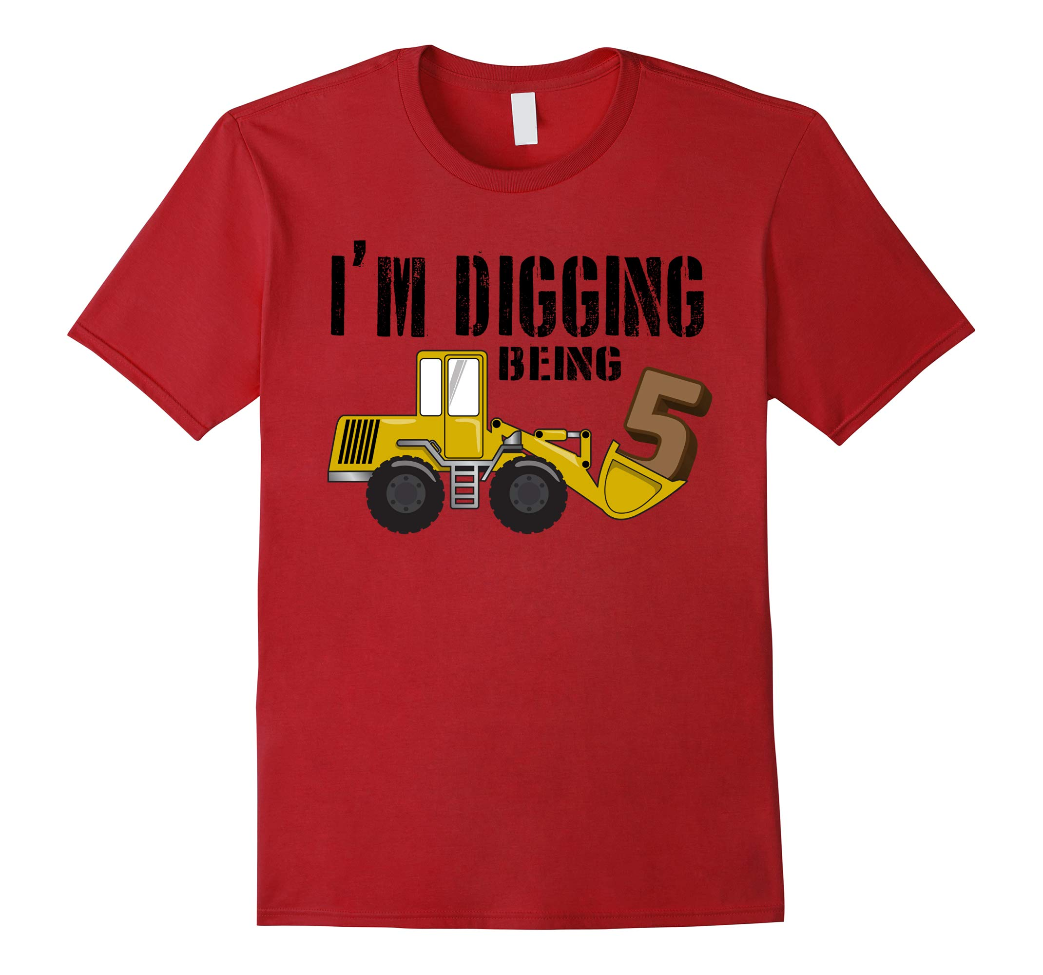 5th Birthday T-Shirt - 5 Year Old Bday Construction Shirt-RT
