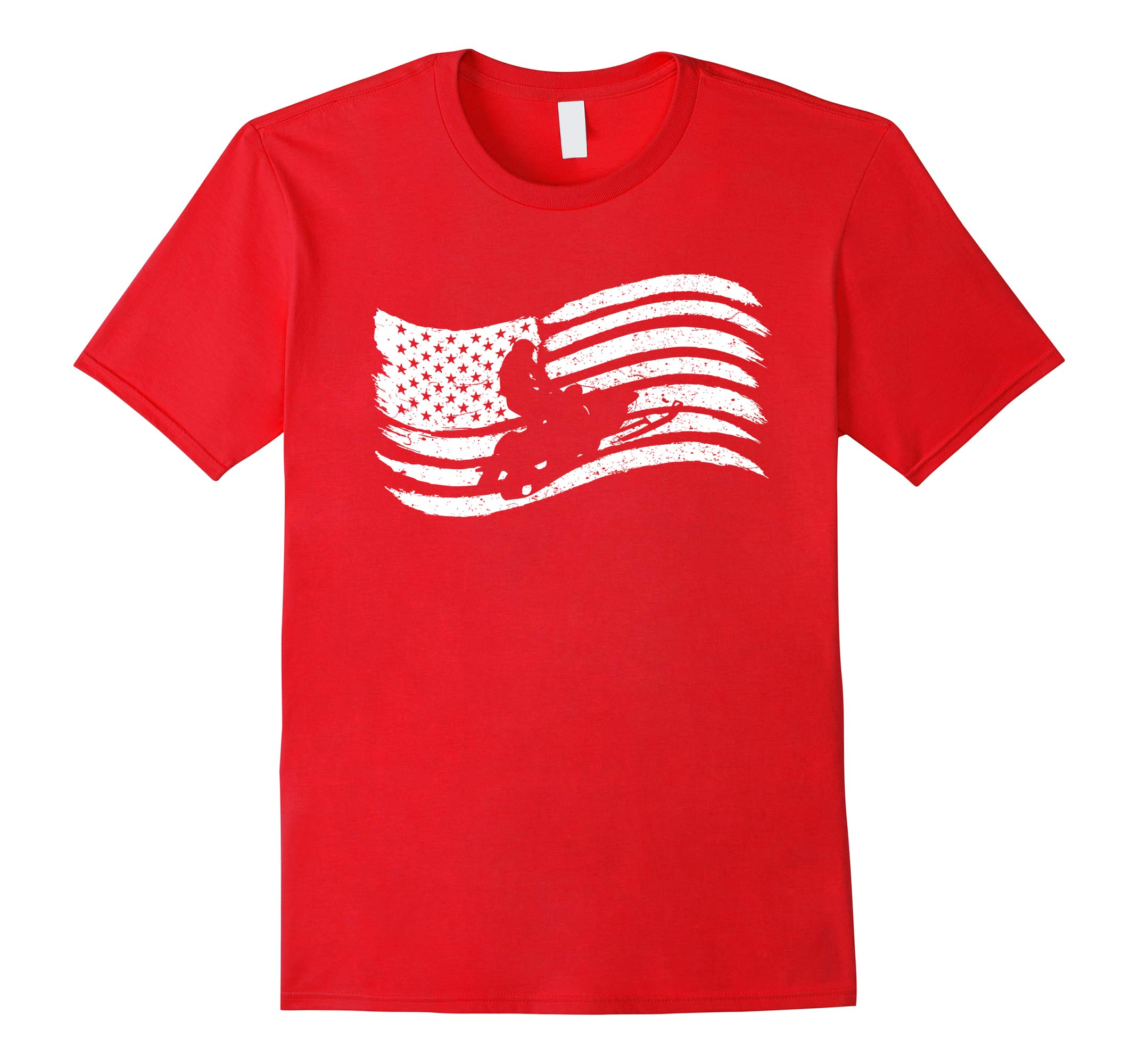 American Flag T-Shirt For Snowmobile Rider Vintage Look-RT