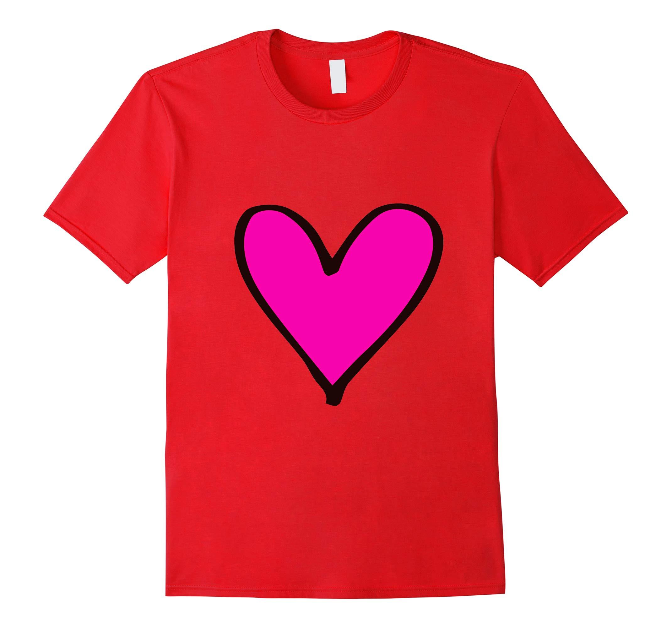 Valentines Day Heart T Shirt Pink Heart Tee For Women Girls-RT