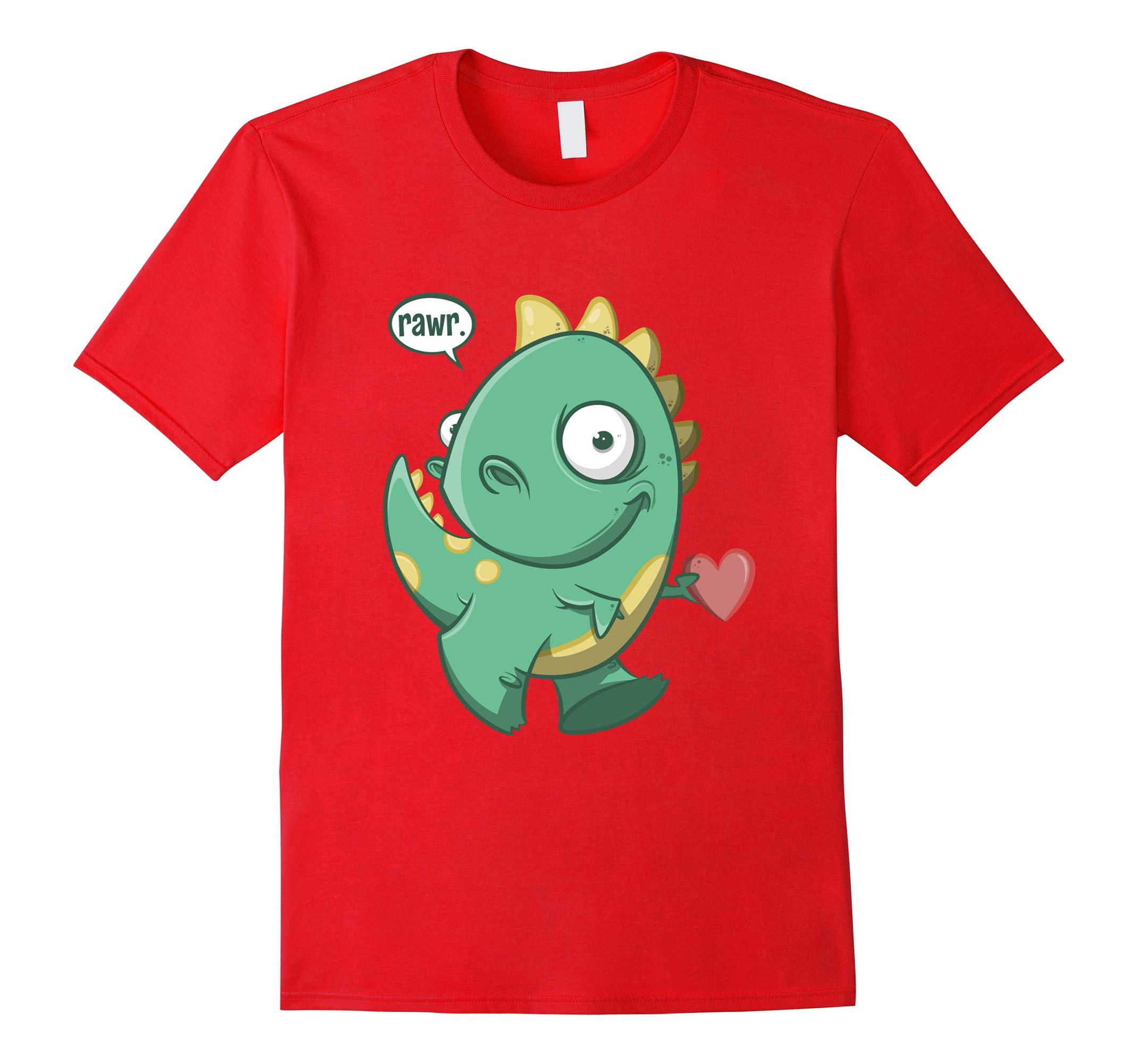 Valentines Day Cute Dinosaur Rawr T Shirt-RT