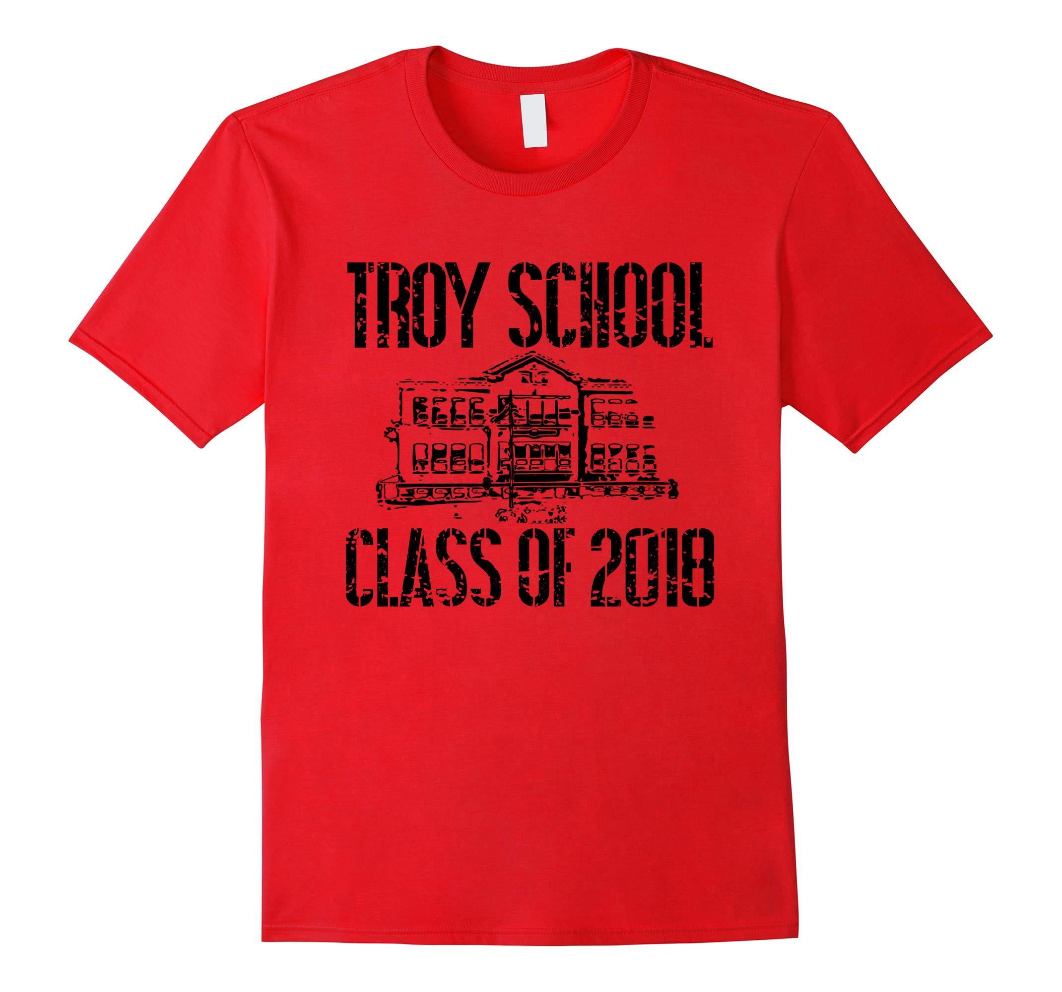 Troy School Class Of 2018 T Shirt Distressed Black Text-RT