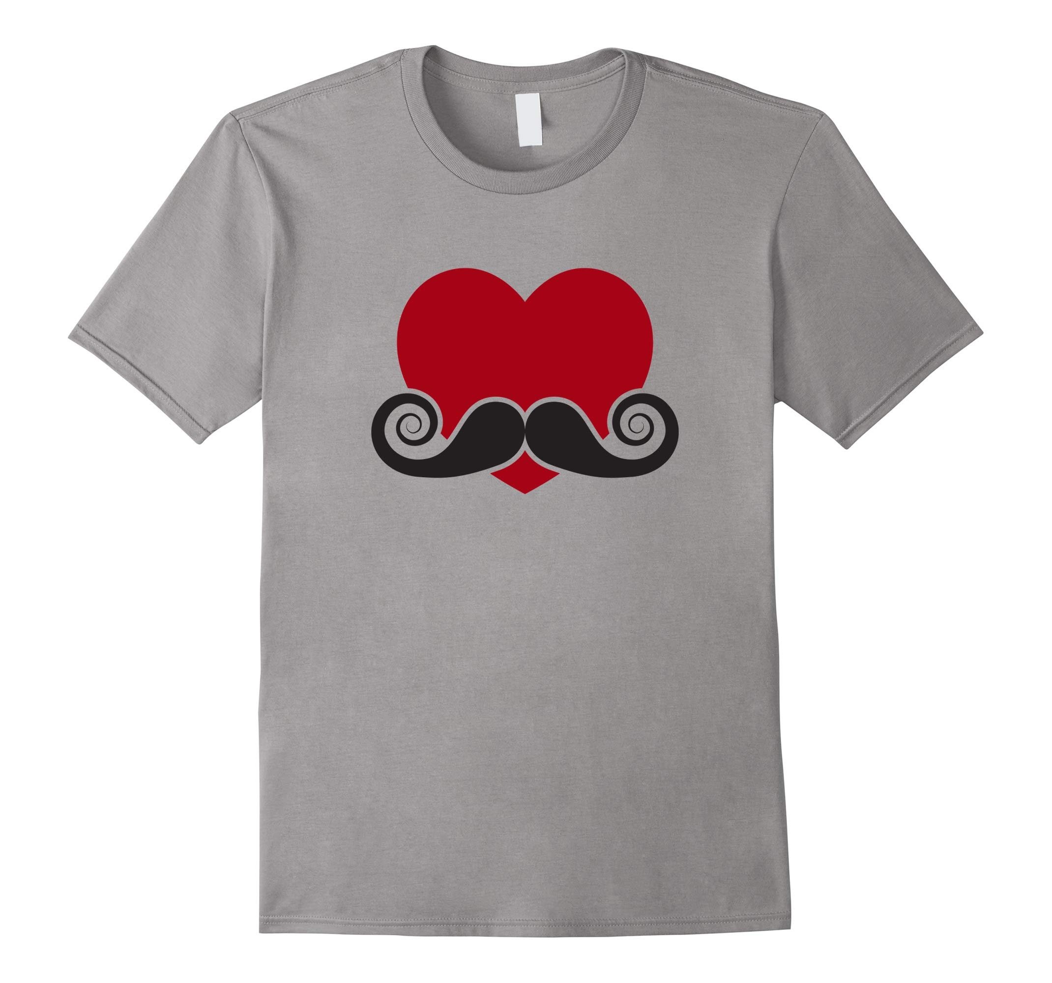 Valentine Day Gift Hipster Red Heart w/ Black Mustache Shirt-RT