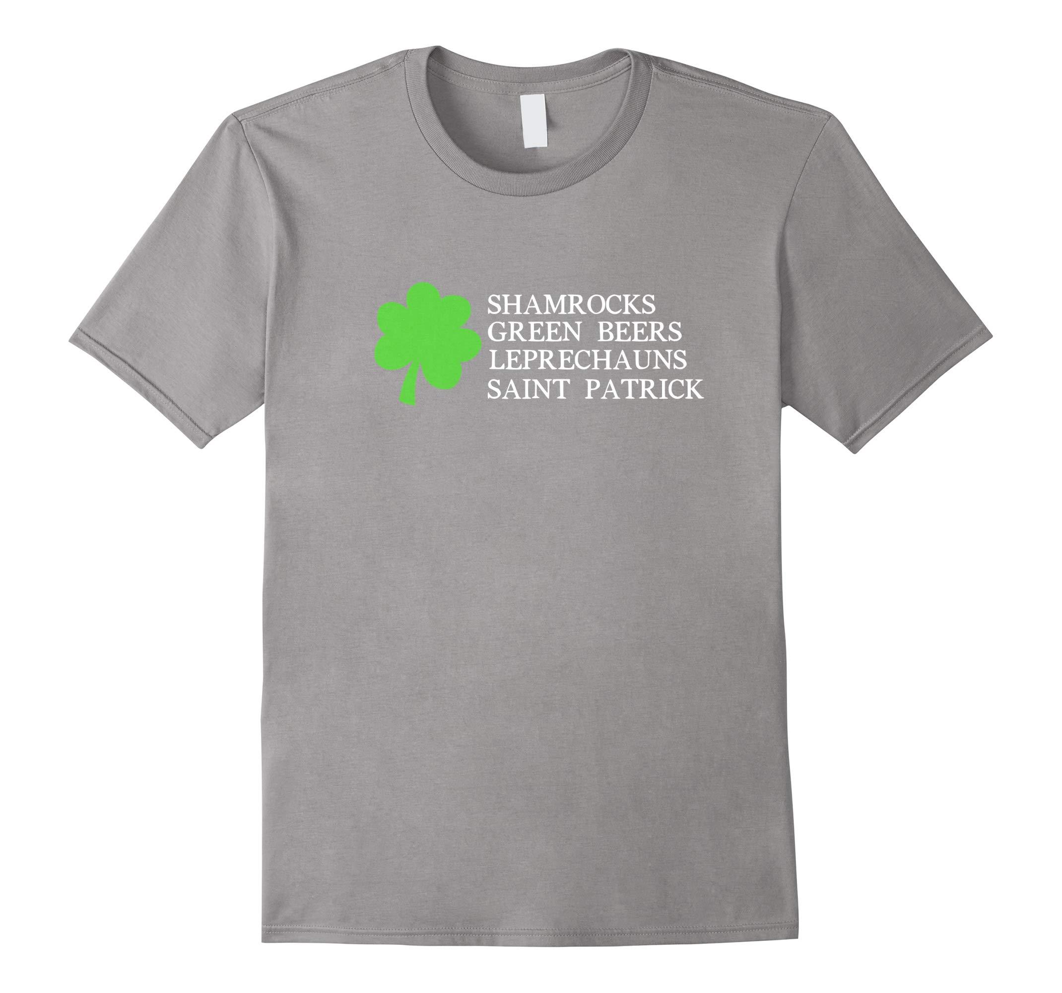 Shamrocks Beers Leprechauns St Patrick Clover T-Shirt-RT