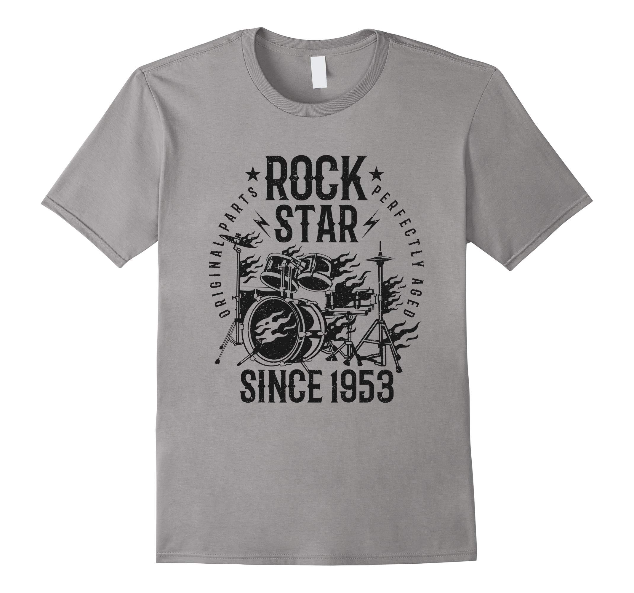 65th Birthday Gift T-Shirt Rock Star Since 1953 Grey-RT
