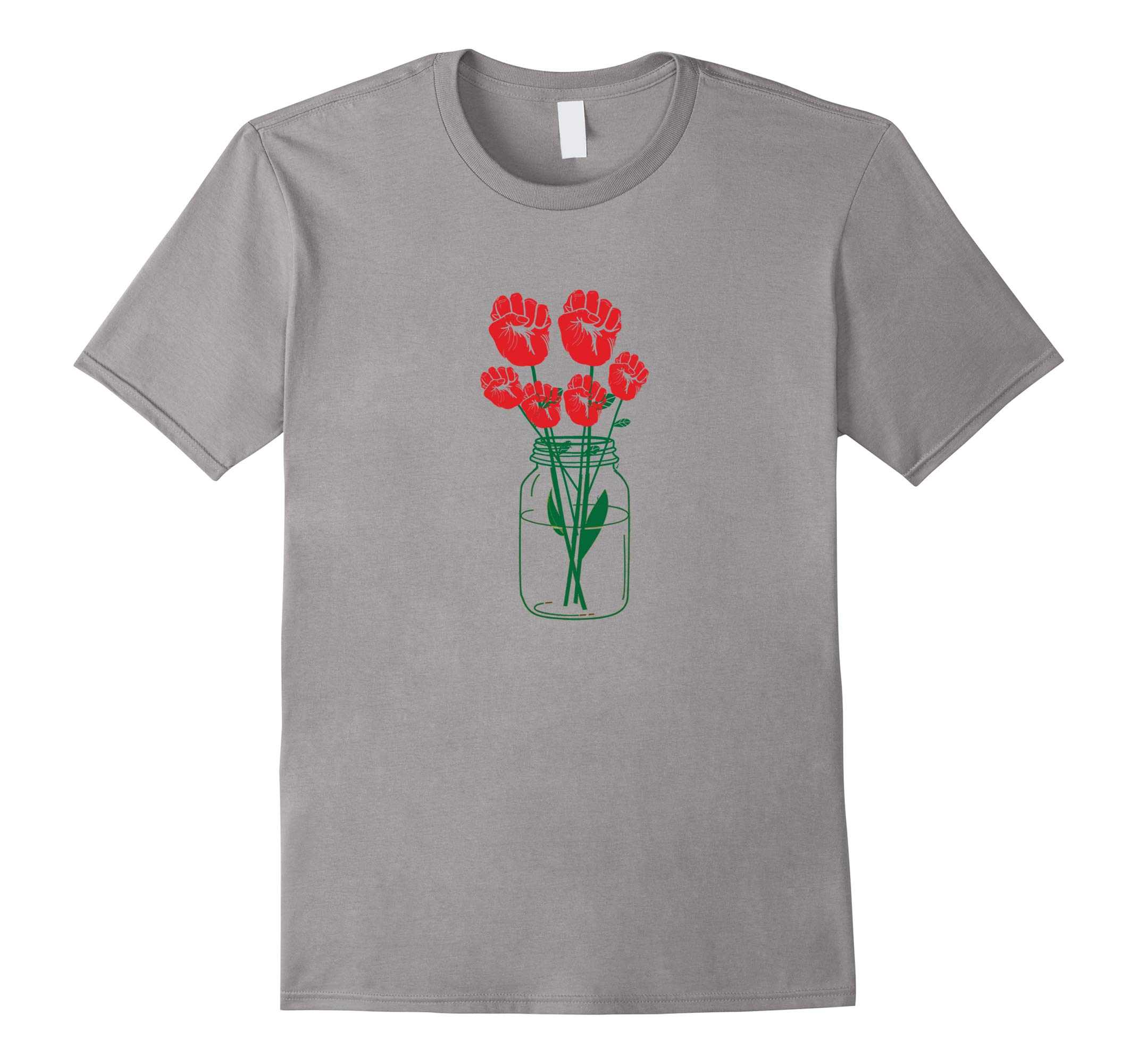 Women's Rights Resist Rose Up Hands Up Vase Shirt-RT